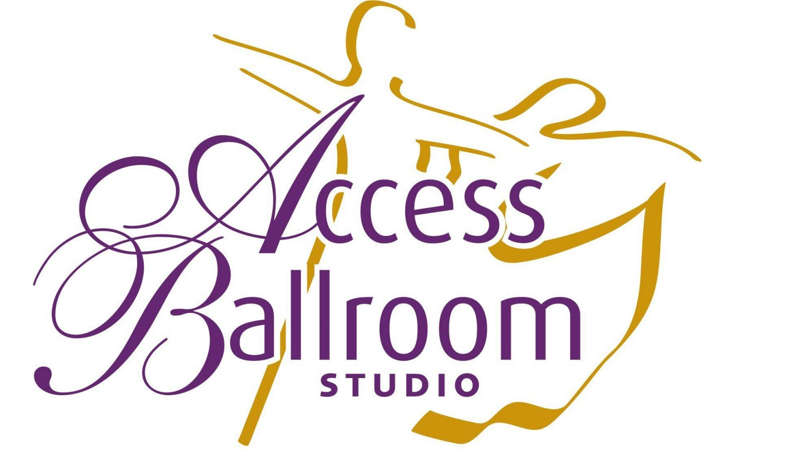 Access Ballroom logo white backround orange couple silouette dancing and the writing is in purple