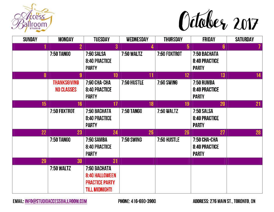 Access Ballroom Dance School Schedule