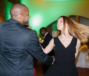Gil Bynoe and Valeria Mazlova dancing representing Access Ballroom Studio for Dance Lessons Toronto and Swing Lessons Toronto and East Coast Swing Lessons