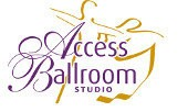 Access Ballroom small logo white backround orange couple silouette dancing and the writing is in purple