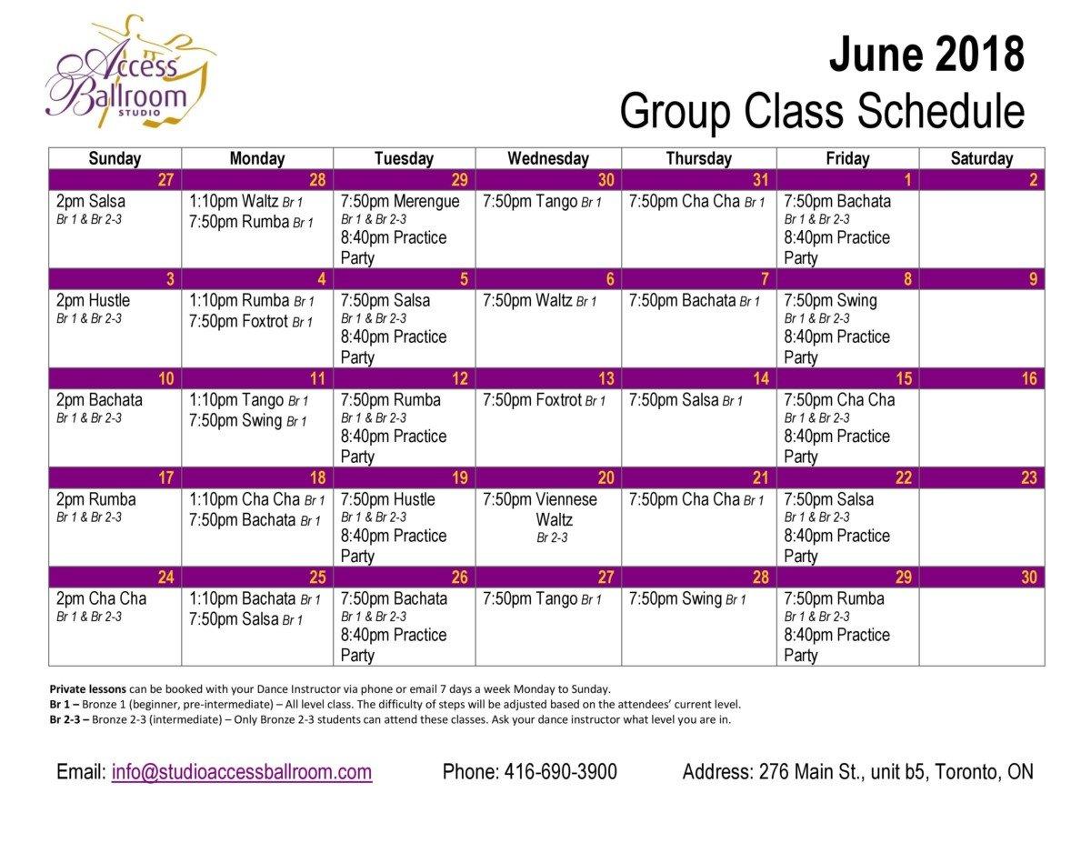 Access Ballroom - Dance Lessons & Classes Schedule