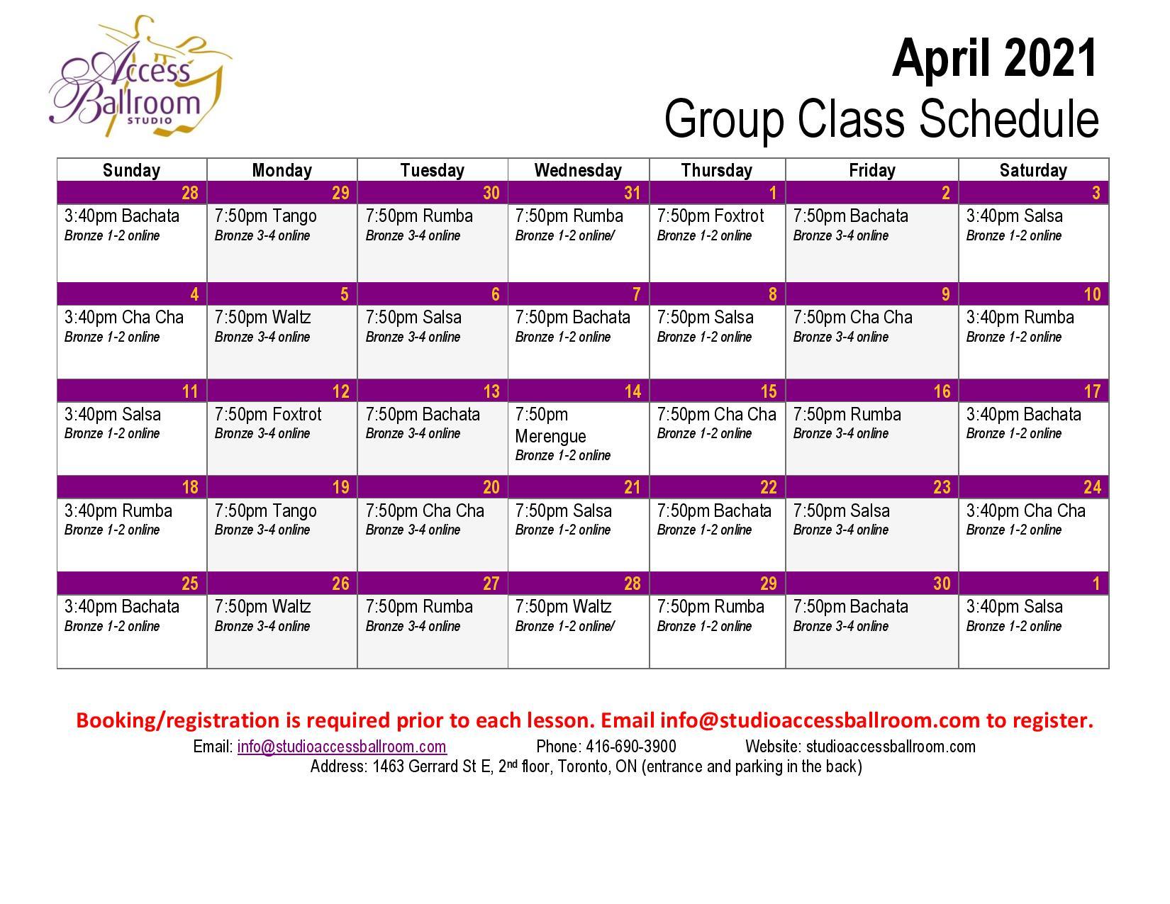 Access Ballroom April 2021 schedule