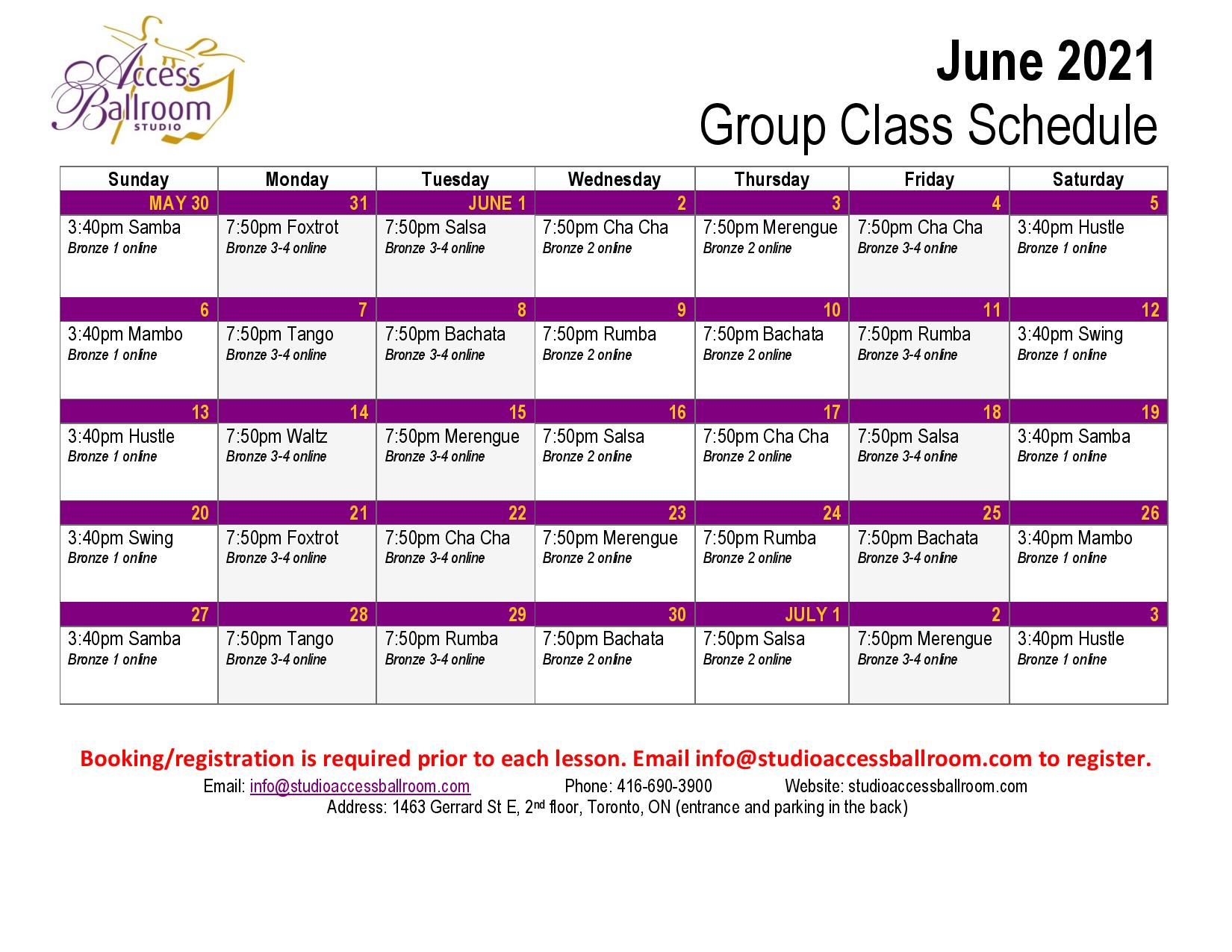Access Ballroom June 2021 schedule
