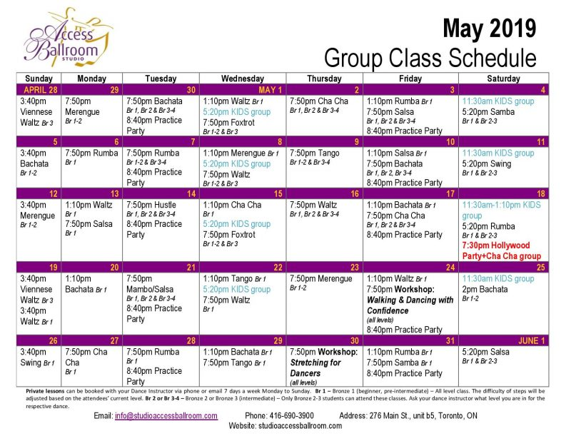 kids dance lessons adult dance lessons practice party salsa group lessons schedule classes courses picture of Calendar at Access Ballroom Studio in the beaches - Toronto Cha Cha Salsa Merengue Waltz Tango Bachata Rumba Swing Foxtrot Viennese Waltz Hustle Hustle monday tuesday wednesday thursday friday saturday sunday mambo salsa may 2019