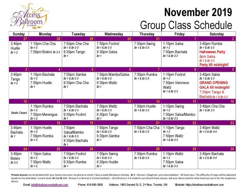 november group classes schedule access ballroom