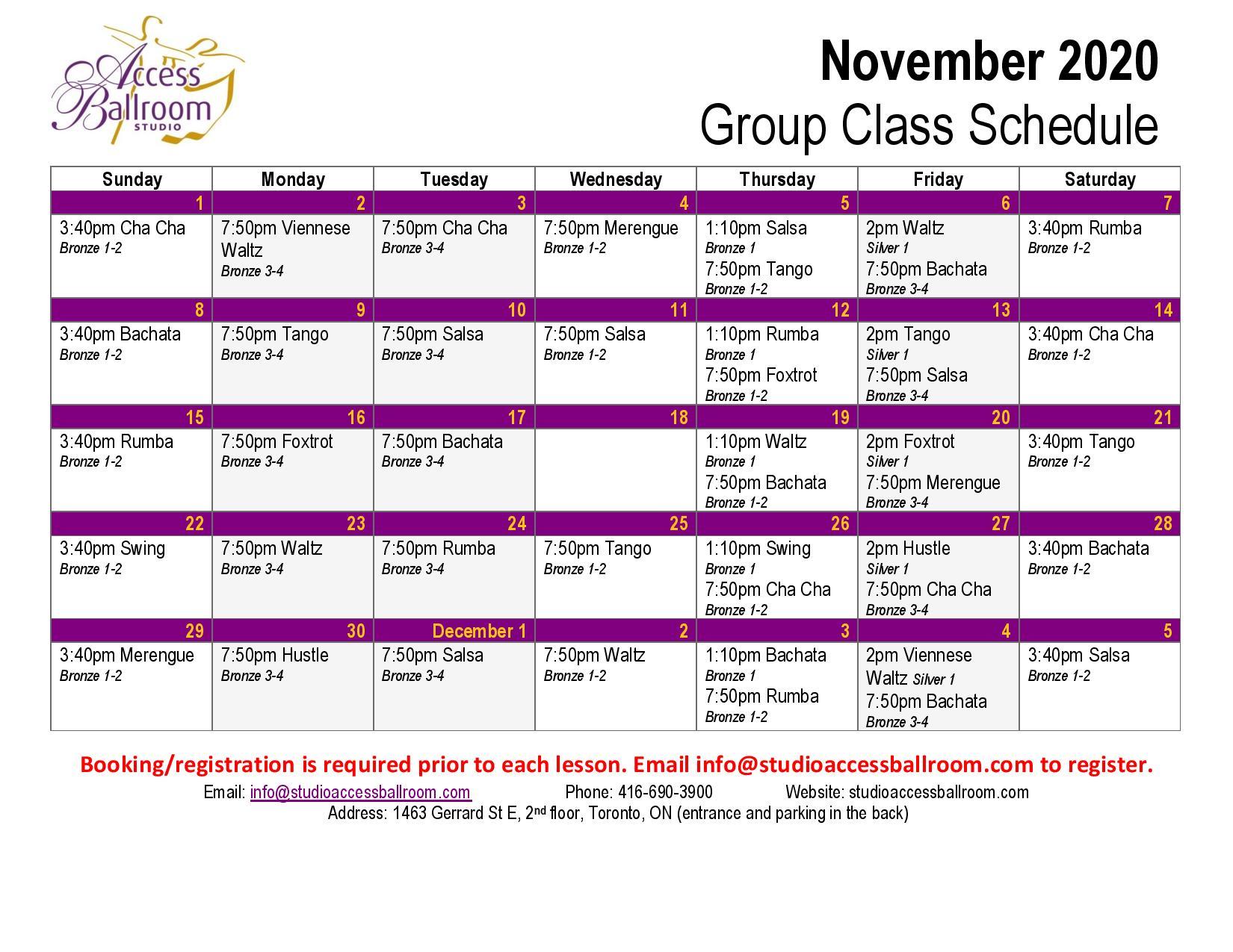 Access Ballroom november 2020 schedule