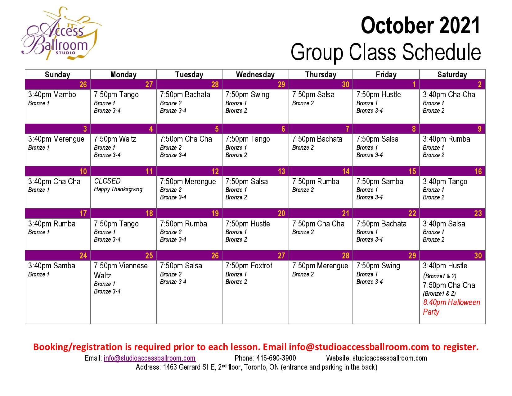 Access Ballroom October 2021 schedule