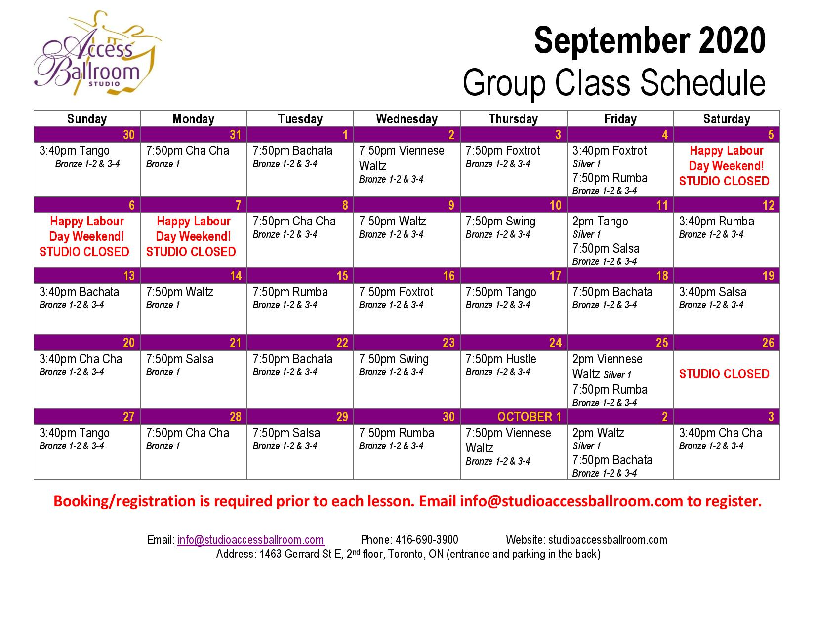 Access Ballroom september 2020 schedule