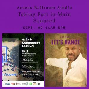 "a pamphlet with Main Squared festival pamphlet with info on it and a picture of Gilfred Bynoe leaning against the wall with ""but first let's dance"" written on it"