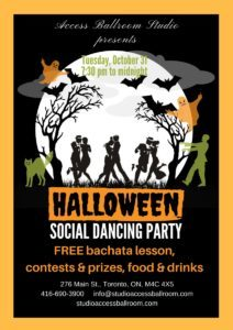 A poster Advertising Access Ballroom Studio Halloween Social Dance Party 2017 final