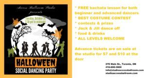 A poster Advertising Access Ballroom Studio Halloween Social Dancing Party 2017 final Facebook timeline format