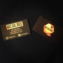 a picture of MC Gil Bee 's business cards with the phone# 647-376-5191 representing Emcee Toronto