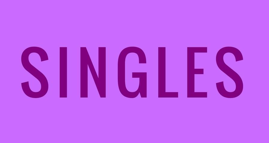 word Singles in purple on light purple background