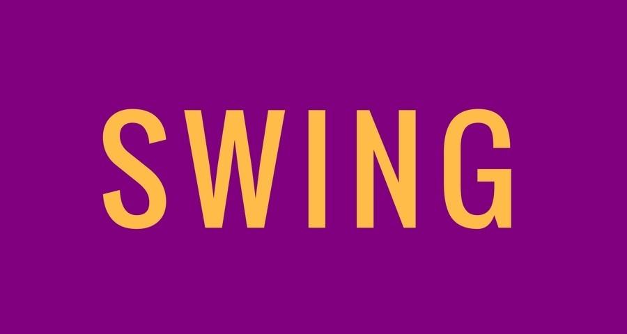 Access Ballroom Studio orange word swing on purple background