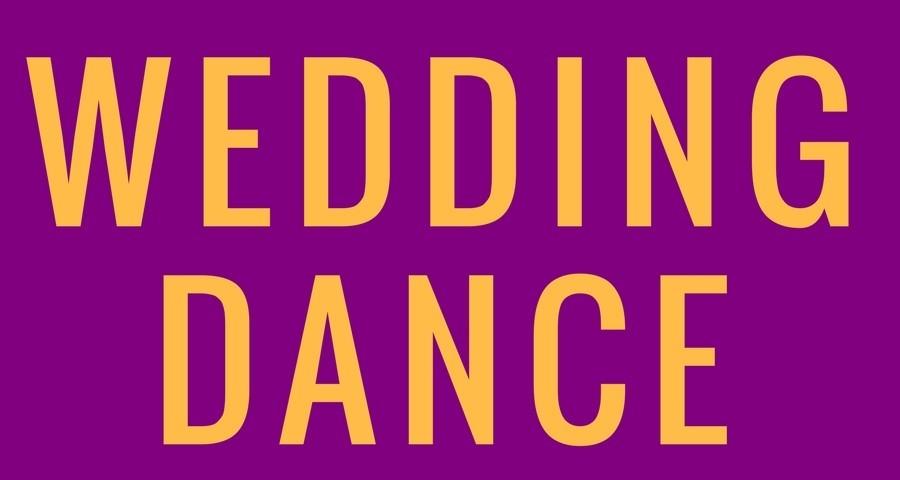 Access Ballroom Studio orange words wedding dance on purple background
