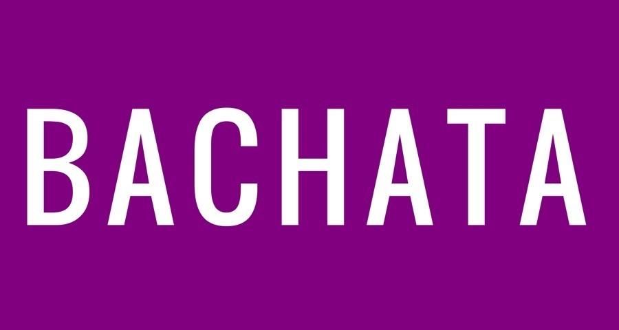 Access Ballroom Studio white word bachata on purple background