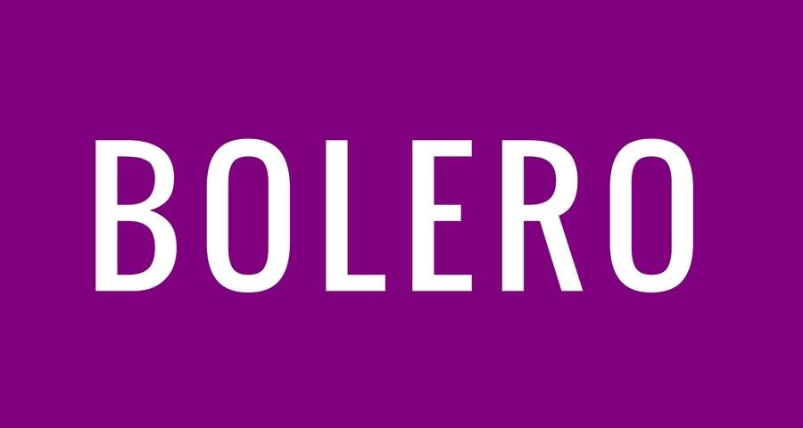 Access Ballroom Studio white word bolero on purple background
