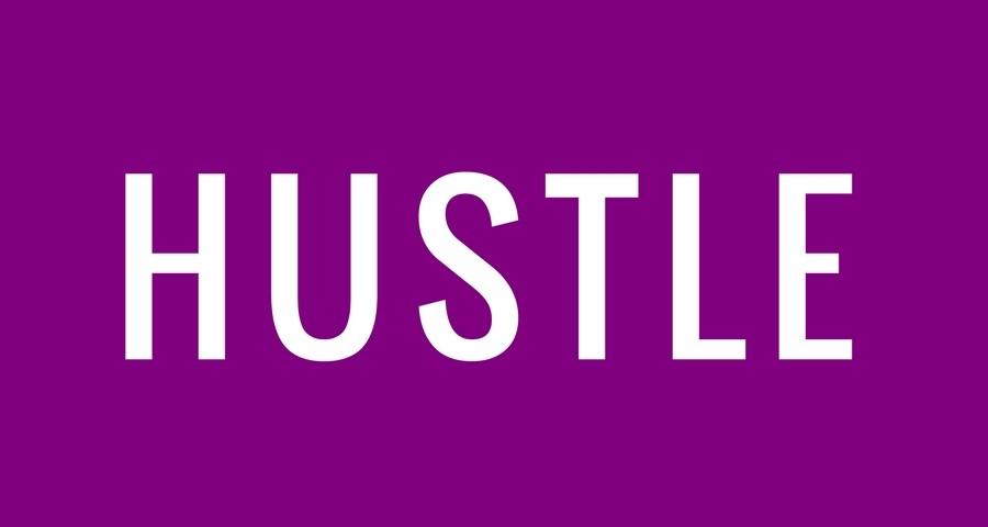 Access Ballroom Studio white word hustle on purple background
