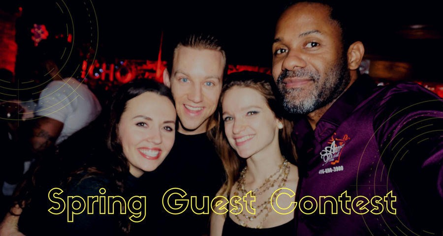 two young women and two men at a MAS party at El Rancho Toronto selfie writting saying Spring Guest Contest