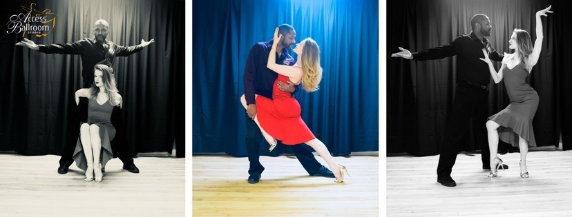 how to dress for ballroom dance class three images photoshoot man and woman dance pose cambio red dress back and white access ballroom studio