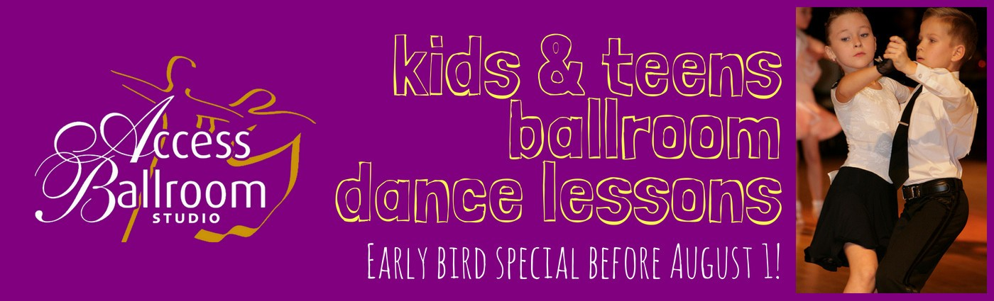 londrina sketch font amatic sc boy and girl dancing ballroom white top black bottom pants skirt closed ballroom hold white kids and teens ballroom dance lessons toronto access ballroom studio early bird special before august 1! logo purple background sketch text