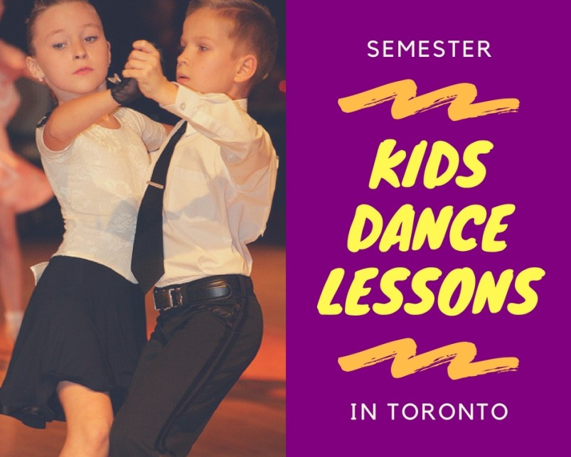 semester in toronto boy and girl dancing ballroom white top black bottom pants skirt closed ballroom hold white kids and teens ballroom dance lessons toronto access ballroom logo purple background