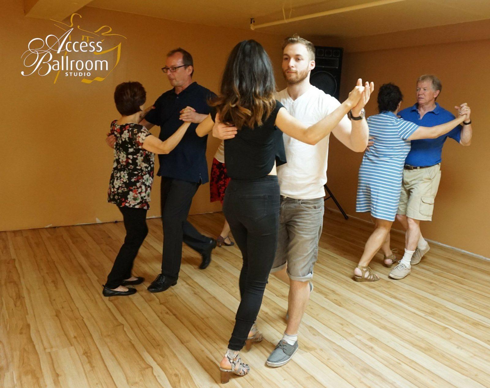 group tango lesson class four couples dancing dance teacher instructor gil bynoe access ballroom studio toronto beaches dance school how to dress for ballroom dance class