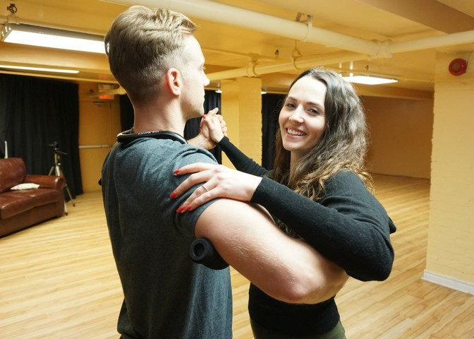 personalized dance package trial private lesson man and woman dancing at access ballroom studio toronto couple dance lesson private class dance school