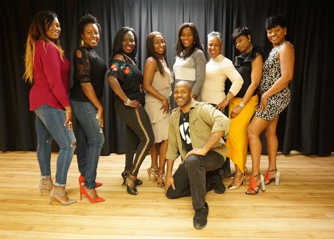 access ballroom eight beautiful black women dance lesson dancer Gil Bynoe Access Ballroom Studio Private Group Lesson