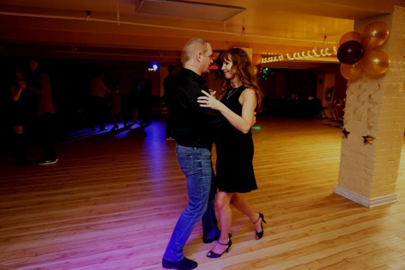 couple dance lessons toronto social dancing access ballroom studio practice party couple dancing salsa engaged married balloons fun event little black dress