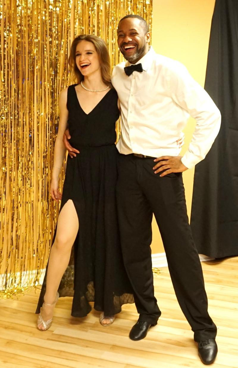 access ballroom studio gil bynoe valeria mazlova laughing interracial couple dancers hollywood social dance party and open house toronto beaches dance school