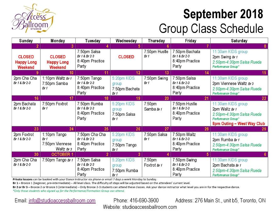 practice party salsa rueda de casino group lessons schedule classes courses picture of September 2018 Calendar at Access Ballroom Studio in the beaches - Toronto Cha Cha Salsa Merengue Waltz Tango Bachata Rumba Swing Foxtrot Viennese Waltz Hustle Hustle monday tuesday wednesday thursday friday saturday sunday