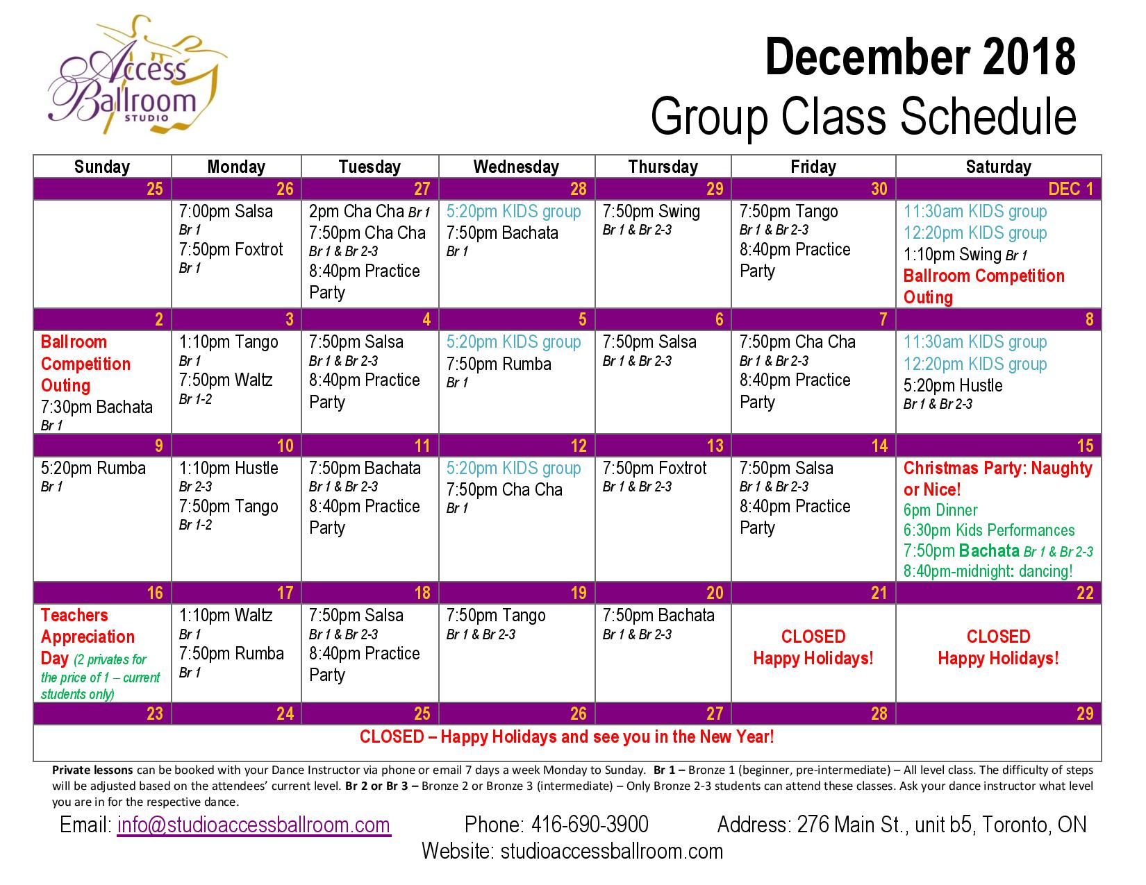 practice party salsa rueda de casino group lessons schedule classes courses picture of October 2018 Calendar at Access Ballroom Studio in the beaches - Toronto Cha Cha Salsa Merengue Waltz Tango Bachata Rumba Swing Foxtrot Viennese Waltz Hustle Hustle monday tuesday wednesday thursday friday saturday sunday