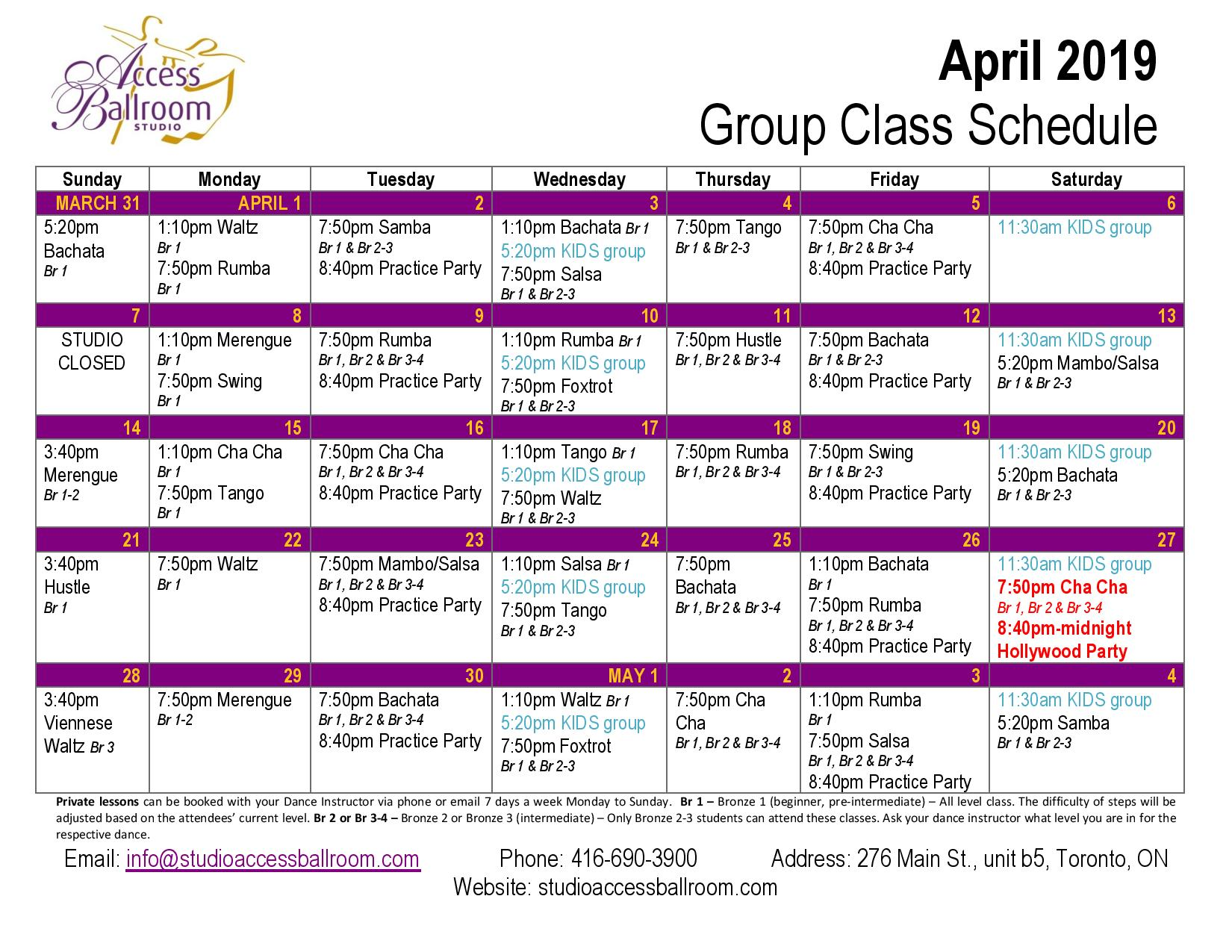 kids dance lessons adult dance lessons practice party salsa group lessons schedule classes courses picture of Calendar at Access Ballroom Studio in the beaches - Toronto Cha Cha Salsa Merengue Waltz Tango Bachata Rumba Swing Foxtrot Viennese Waltz Hustle Hustle monday tuesday wednesday thursday friday saturday sunday salsa march 2019