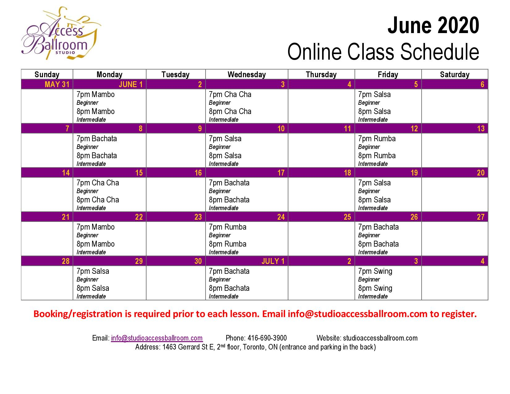 online dance classes schedule access ballroom