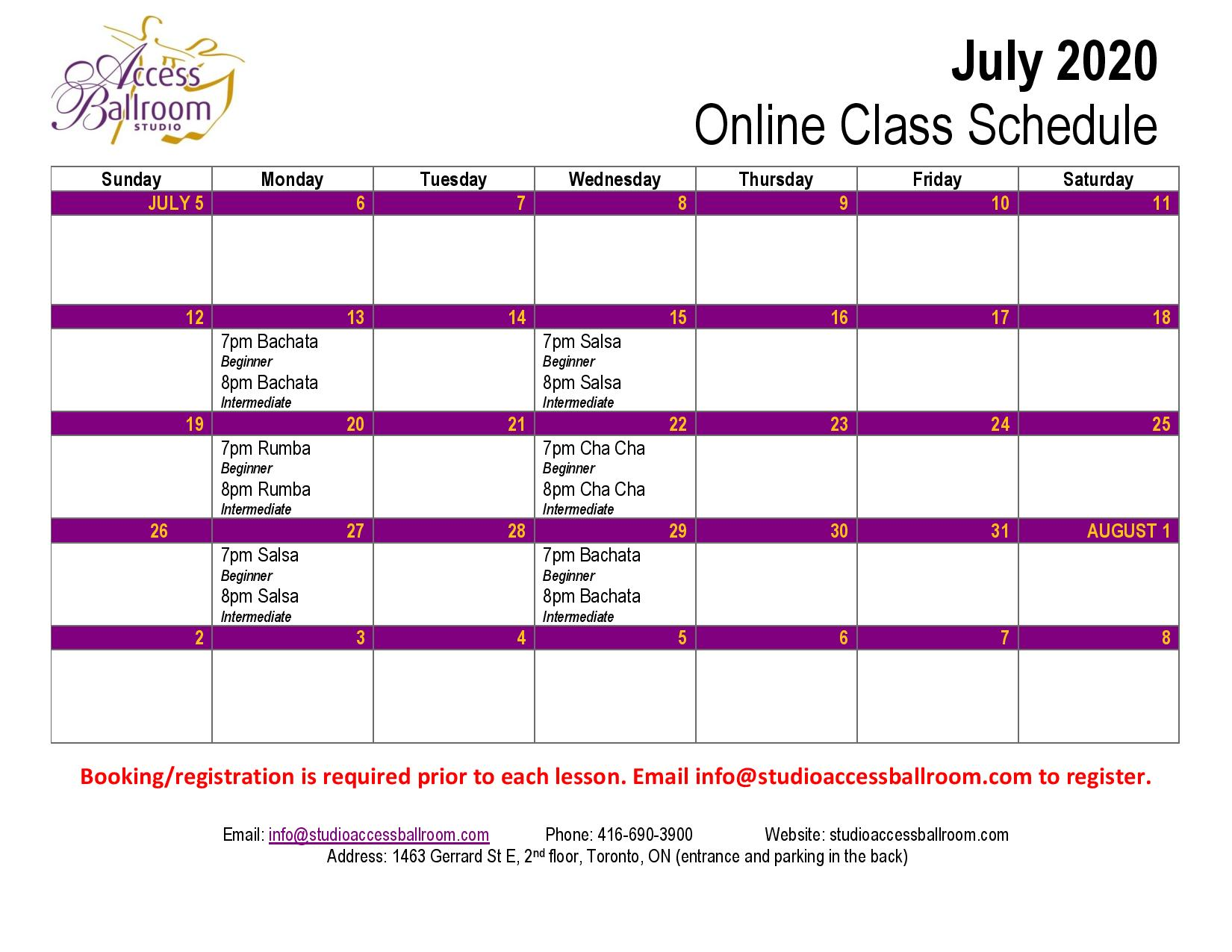online dance classes schedule access ballroom