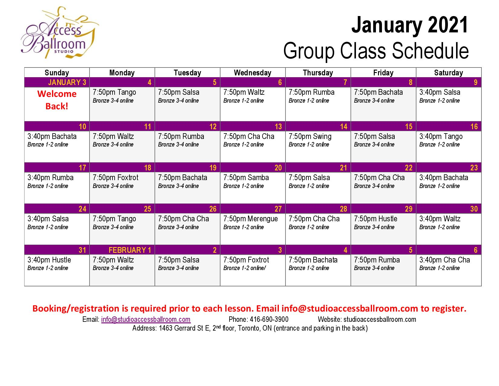 Access Ballroom january 2021 schedule