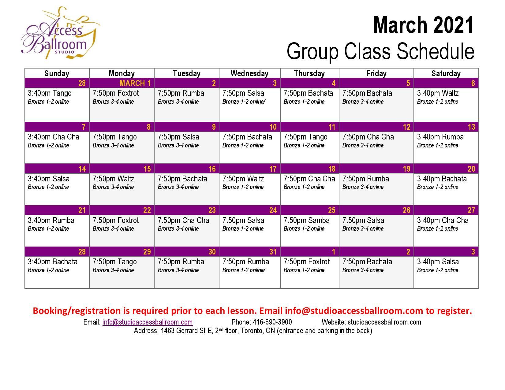 Access Ballroom March 2021 schedule