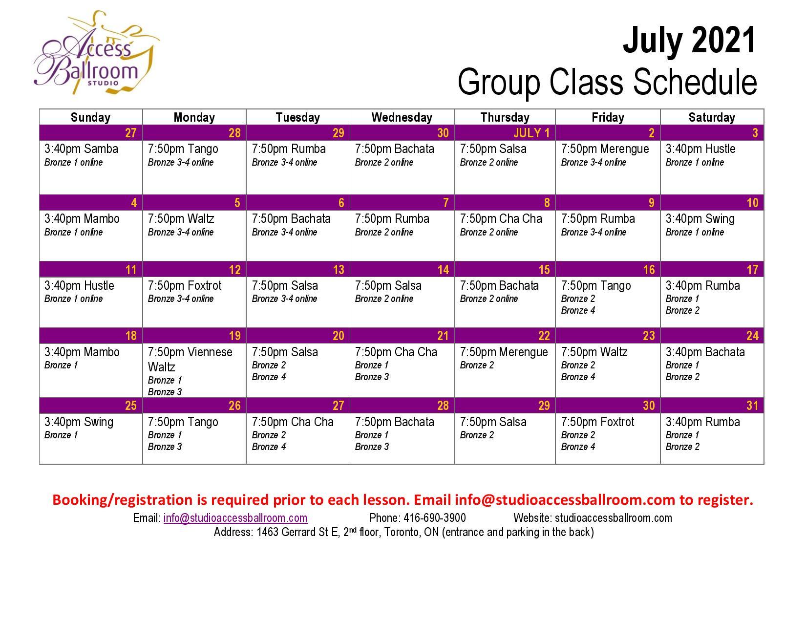 Access Ballroom July 2021 schedule